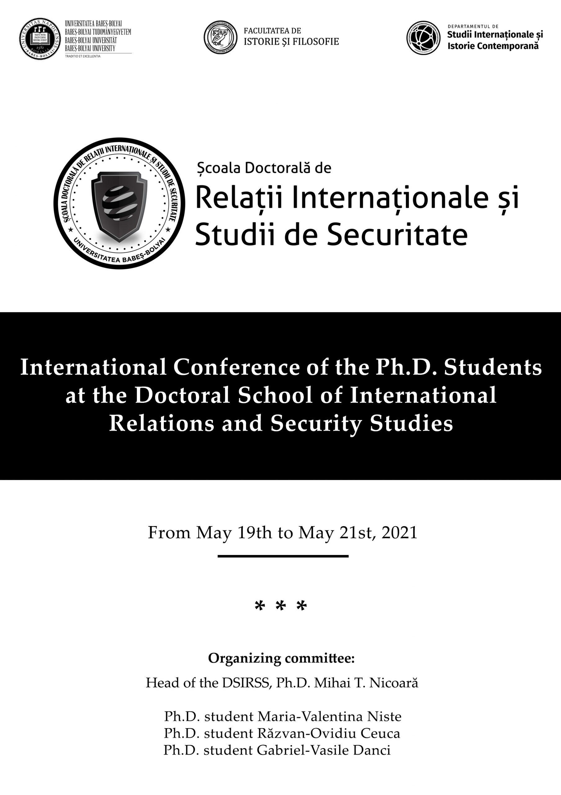 Conferința Internațională a Doctoranzilor Școlii doctorale de Relații Internaționale și Studii de Securitate